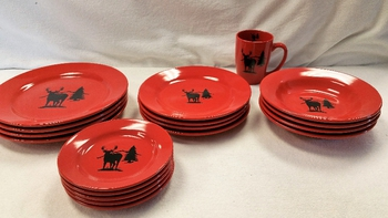 WS10316.WTDS - 20pc Crimson Red Whitetail Silhouette Dinnerware Set #WS10316.WTDS