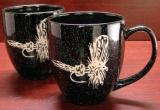 BM10111E.RLY - 6oz Black Bistro Mugs - Sand Carved Royal Wulff Dry Fly BM10111E.RLY