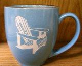 BM10117E.ADK 16oz Savannah Blue With Brown Trim  Bistro Mug - Sand Carved Adirondack Chair BM10117E.ADK