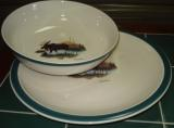 CS039.LMW - Cabin Series Serving Plater and Bowl Set- Scenic Landscape Moose CS039.LMW