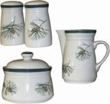 4pc Accessory Set - Salt, Pepper, Creamer, Sugar - Pine Cones CS042.PINE