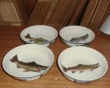CS069.TRTA.Custom - 4pc Cabin Series Trout Vegetable Serving Bowl Set CS069.TRTA.Custom