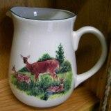 CS10107.LDF - Cabin Series Ceramic Water Pitcher- Deer and Fawns Scene CS10107.LDF