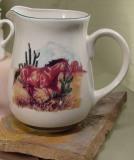CS10107.SWBL - Cabin Series Ceramic Water Pitcher- Landscape Buckskin Loping CS10107.SWBL