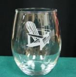 GW10202E.ADK - Stemless Wine Goblets 3 Size Options - Sand Carved - Adirondack Chair (Set of 4) GW10202E.ADK