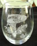 GW10201E.TRT - Stemless Wine Goblets 3 Size Options - Sand Carved - Rainbow Trout  (Set of 4) GW10201E.TRT
