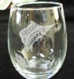 GW10202E.SLF - Stemless Wine Tumblers 3 Size Options - Sand Carved - Sailfish (Set of 4) GW10202E.SLF
