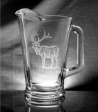GW429.ELKB - Glass Tapered Pitcher - Sand Carved - Elk Body GW0429.ELKB