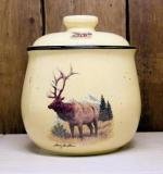 Lodge Collection Cookie Jar - Landscape Elk Scene LCCJ.LEM