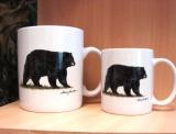 SM114.BLKB - Bright White Porcelain Super Sized Black Bear 30oz. Mug SM114.BLKB