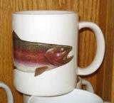 SM114.RBWH - Bright White Porcelain Super Sized 30oz. Rainbow Trout Mug SM114.RBWH