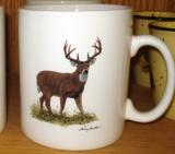 SM114.WTDB - Bright White Porcelain Super Sized Whitetail Deer 30oz. Mug SM114.WTDB