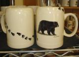 SS111.BLKBTRX - 22 oz. Stoneware Stein White - Black Bear with Bear Tracks SS111.BLKBTRX