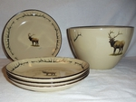 AD10280.ELKBANT - Adventure 5pc Standing Elk with Antlers Pasta / Salad Set AD10280.ELKBANT