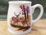 BL10262.LWC - Bell Mug - Bright White - Scenic Whitetail Deer Couple BL10262.LWC
