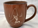 BM10116E.FFM - 16oz Savannah Brown With Blue Trim  Bistro Mug -Fly Fisherman BM10116E.FFM