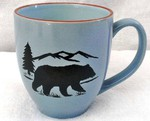 Savannah Blue Bistro Mugs - Bear and Mountain Silhouette BM10117.BERS