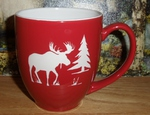 BM10290E.MOSS - 16oz Brilliant Red Bistro Mug - Sand Carved Moose Silhouette BM10290E.MOSS