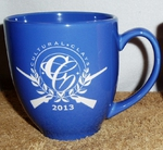 Brilliant Ocean Blue 16oz. Bistro Mug Etched with Custom Logo BM10291E.Custom