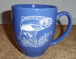 BM10291E.TRT - 16oz Brilliant Ocean Blue Bistro Mug - Sand Carved Trout BM10291E.TRT