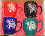 GPBistro.PINE - 16oz Assorted Colors Bistro Mug (4 Mugs Set) - Sand Carved Pine Cones GPBistro.PINE