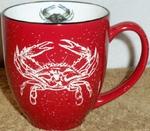 BM126E.CRB - 16oz Red Bistro Mug - Sand Carved Blue Crab BM126E.CRB