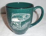 BM149E.TRT - 16oz Dark Green Bistro Mug - Sand Carved Rainbow Trout BM149E.TRT