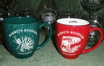 Bright Red and Dark Green 16oz. Bistro Mug Etched Std Design with Name Drop BM126E.Custom
