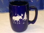 BR10264E.MOSS - Cobalt Barrel Mugs - Etched Moose and Tree Silhouette BR10264E.MOSS