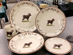 CR10317.BHS - 20pc Classic Rustic Big Horn Sheep with Antler rim  Dinnerware Set CR10317.BHS