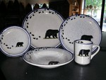 CR10318.BLKBTRX - 20pc Classic Rustic Black Bear with Tracks Dinnerware Set CR10318.BLKBTRX