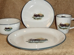CS10274.LMW - Cabin Series Moose Scene Dinnerware Set (16 pc) CS10274.LMW