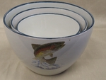 CS10275.JTRT - Cabin Series 3pc Dancing Trout Serving/Mixing Bowl Set CS10275.JTRT