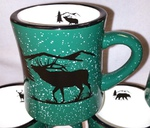DM10306.ELKS - 10 oz. Forest Green Diner Mug - Bugling Elk Silhouette DM10306.ELKS