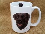 EL113.CLAB 15 oz. White El Grande Mug - Chocolate Lab Head EL113.CLAB