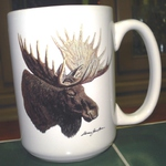EL113.MOSA - 15 oz. White El Grande Mug - Big Game Moose Head EL113.MOSA