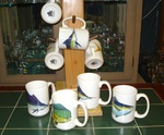 GP113.OFFA - (4) 15 oz. White El Grande Mugs - Offshore Fish Series GP113.OFFA