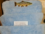 EM10332.SKB.BRNH - 3pc 100%  Combed Cotton Sky Blue Towel Set -  Brown Trout EM10332.SKB.BRNH