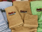 EM10332.TST.LMW - 3pc 100%  Combed Cotton Towel Set -  Toast - Scenic Moose EM10332.TST.LMW