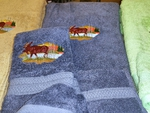 EM10333.RVB.LMW - 3pc 100%  Rayon from Bamboo Towel Set -  River Blue - Scenic Moose EM10333.RVB.LMW