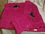3pc 100% Cotton Towel Set - Burgundy - Bear and Cubs EG.Burg.LBF