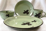 FM10209.GRS - 16pc Fresh Meadow Ruffed Grouse Dinnerware Set FM10209.GRS