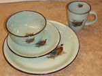 FM10209.PHFC - 16pc Fresh Meadow Pheasant Scene Dinnerware Set FMDW.PHFC