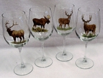 GP10123.BGMB 19oz. Elegance Big Game Animal Series Tulip Wine Glasses (Set of 4) GP10123.BGMB