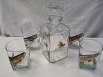 GP10135.TRTFLYA - Square Decanter with 4 Hi-Ball Glasses - Trout Series with Dry Flies GP10135.TRTFLYA