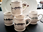 GP10262.NEFA - Northeast Fish Series 16oz. White Bell Mug (4 Mug Set) GP10262.NEFA
