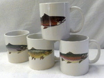 GP112.TRTA - 11 OZ C-Handle Mugs (set of 4) with Trout Series GP112.TRTA