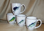 GPBM142.OFFA - White Offshore Fish Series Bistro Mugs (Set of 4) GPBM142.OFFA