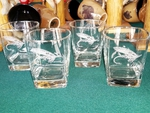 GP434.SFLY - Square Hi-Ball Glasses - Sand Carved - Salmon Dry Fly (Set of 4) GP434.SFLY