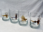 GP832.FLYA - Glass Round Hi-Ball - Full Color Design - Dry Flies (Set of 4) GP832.FLYA